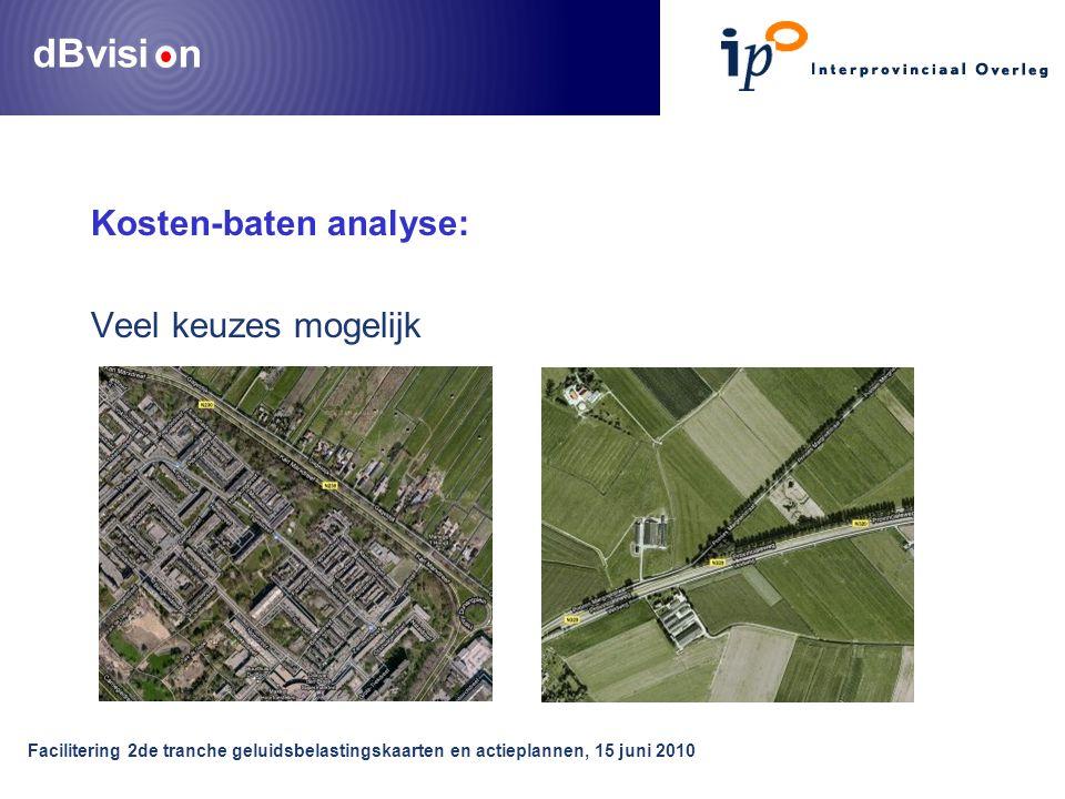 dBvisi n Facilitering 2de tranche geluidsbelastingskaarten en actieplannen, 15 juni 2010 Kosten-baten analyse: Veel keuzes mogelijk