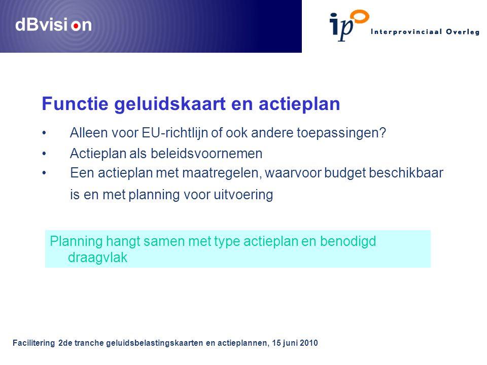 dBvisi n Facilitering 2de tranche geluidsbelastingskaarten en actieplannen, 15 juni 2010 Functie geluidskaart en actieplan •Alleen voor EU-richtlijn of ook andere toepassingen.