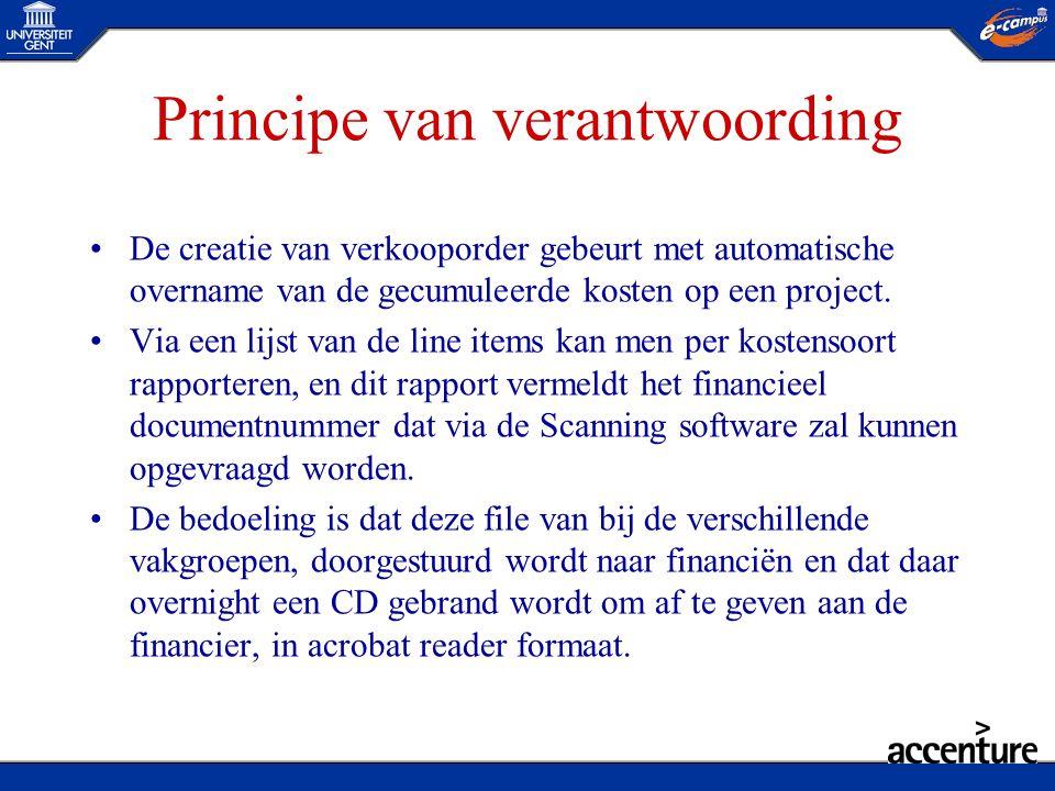 Principe van verantwoording •De creatie van verkooporder gebeurt met automatische overname van de gecumuleerde kosten op een project. •Via een lijst v