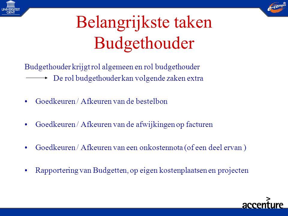 Belangrijkste taken Budgethouder Budgethouder krijgt rol algemeen en rol budgethouder De rol budgethouder kan volgende zaken extra •Goedkeuren / Afkeu