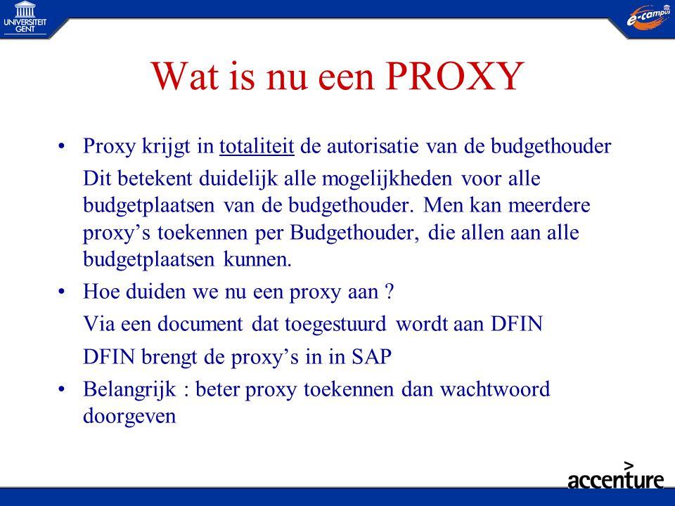 Wat is nu een PROXY •Proxy krijgt in totaliteit de autorisatie van de budgethouder Dit betekent duidelijk alle mogelijkheden voor alle budgetplaatsen
