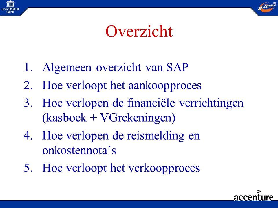 Overzicht 1.Algemeen overzicht van SAP 2.Hoe verloopt het aankoopproces 3.Hoe verlopen de financiële verrichtingen (kasboek + VGrekeningen) 4.Hoe verl