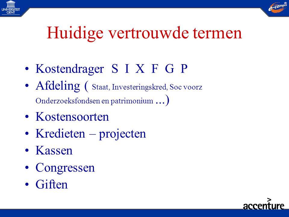 Huidige vertrouwde termen •KostendragerS I X F G P •Afdeling ( Staat, Investeringskred, Soc voorz Onderzoeksfondsen en patrimonium...) •Kostensoorten