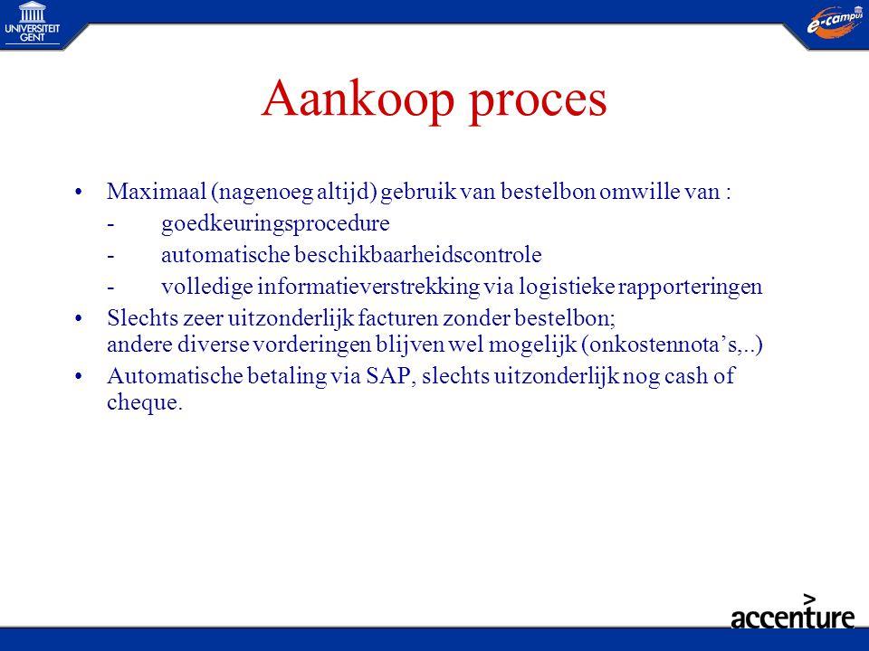 Aankoop proces •Maximaal (nagenoeg altijd) gebruik van bestelbon omwille van : -goedkeuringsprocedure -automatische beschikbaarheidscontrole -volledig