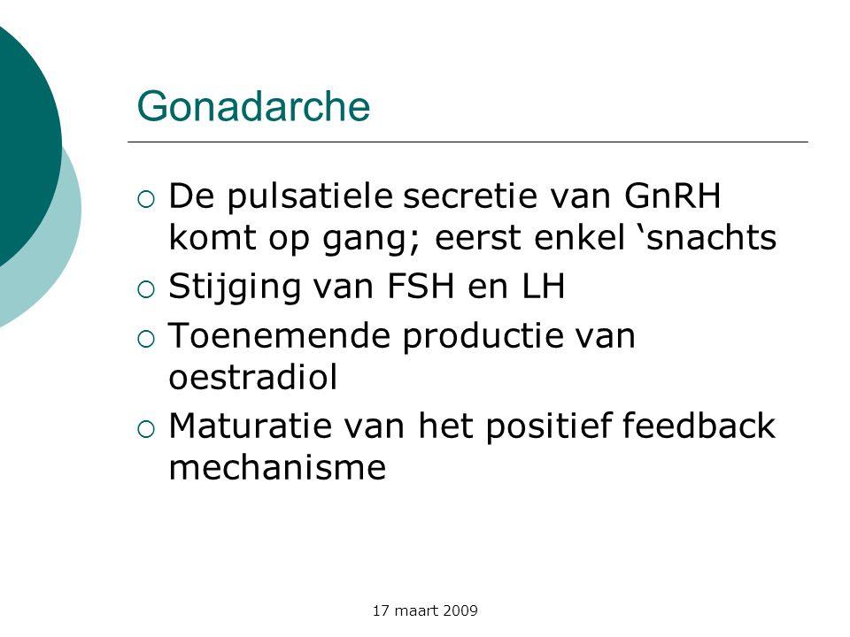 17 maart 2009 Gonadarche  De pulsatiele secretie van GnRH komt op gang; eerst enkel 'snachts  Stijging van FSH en LH  Toenemende productie van oest