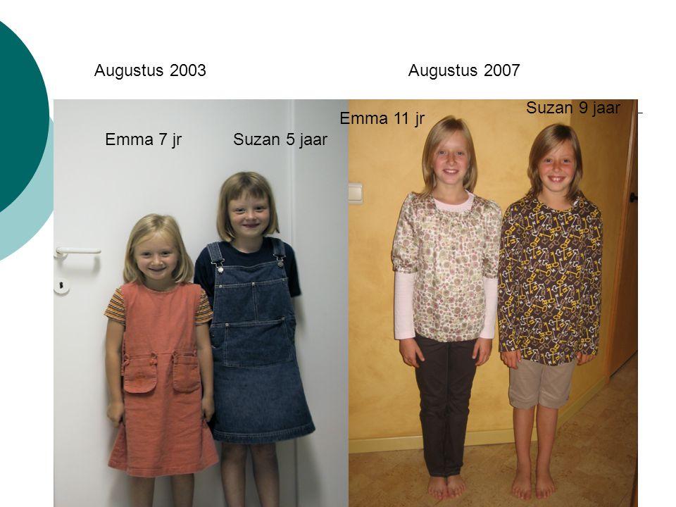 17 maart 2009 Augustus 2003 Suzan 5 jaarEmma 7 jr Augustus 2007 Emma 11 jr Suzan 9 jaar