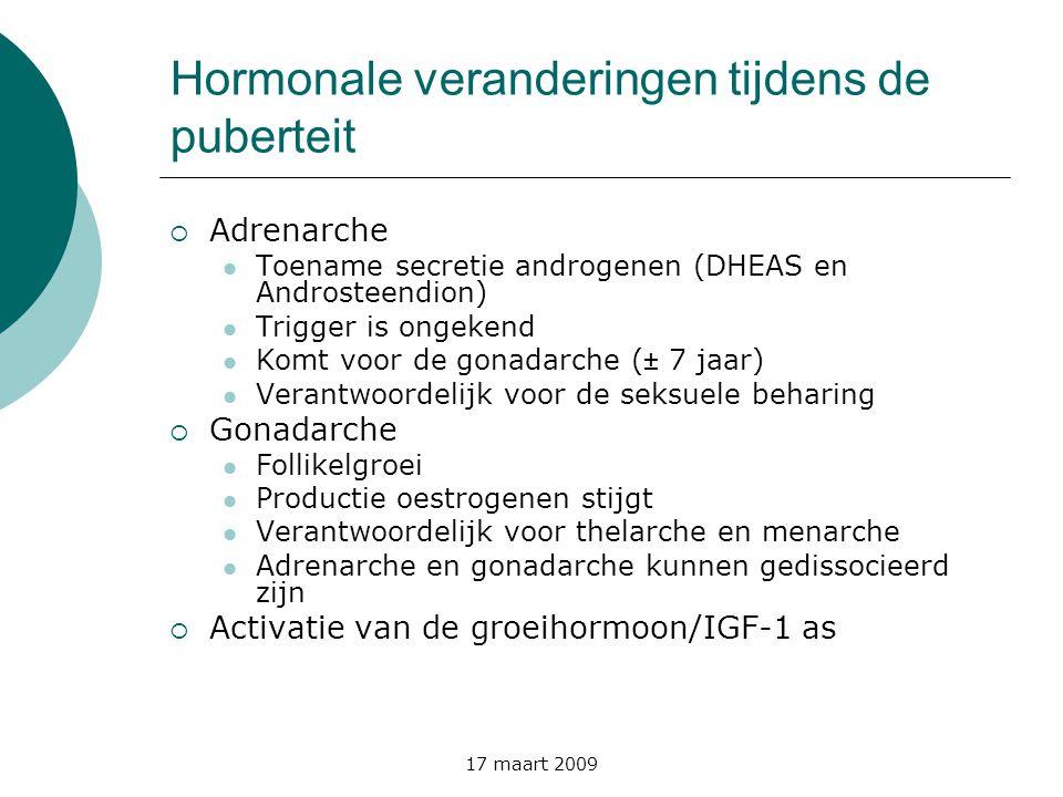 17 maart 2009 Differentiaaldiagnose tussen GnRH- dependente en –independente pubertas praecox  Laboratorium  LH enFSH  Oestradiol  Testosteron, DHEAS en Adion  17-OHP (marker voor CAH)  GnRH-test: LH/FSH ratio  Thyroidstatus  MRI hypofyse en hypothalame regio  Echo pelvis (uterus, ovaria)
