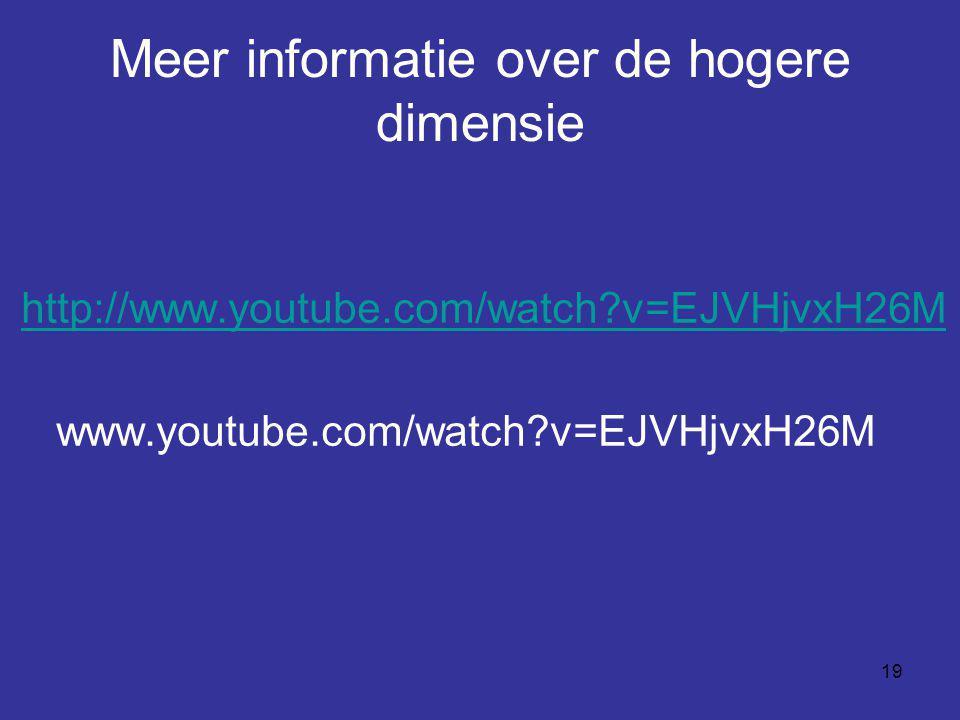 19 Meer informatie over de hogere dimensie http://www.youtube.com/watch?v=EJVHjvxH26M www.youtube.com/watch?v=EJVHjvxH26M