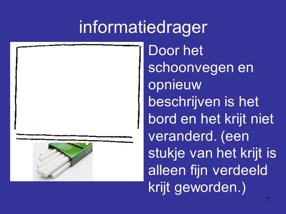 7 informatiedrager Door het schoonvegen en opnieuw beschrijven is het bord en het krijt niet veranderd. (een stukje van het krijt is alleen fijn verde