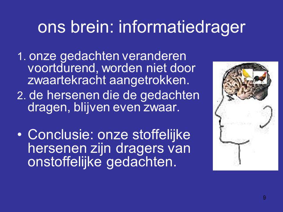 9 ons brein: informatiedrager 1. onze gedachten veranderen voortdurend, worden niet door zwaartekracht aangetrokken. 2. de hersenen die de gedachten d