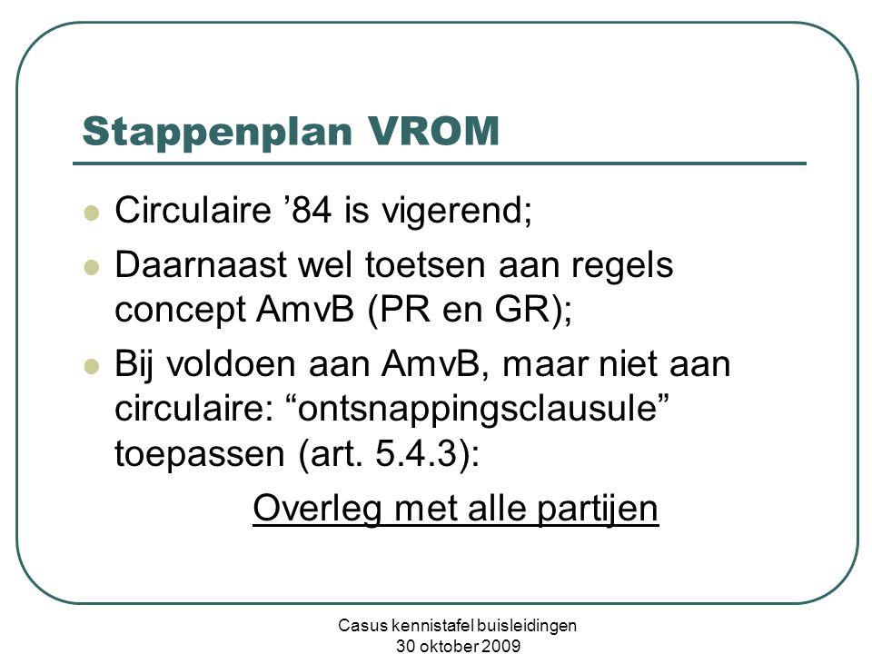 Casus kennistafel buisleidingen 30 oktober 2009 Stappenplan VROM  Circulaire '84 is vigerend;  Daarnaast wel toetsen aan regels concept AmvB (PR en GR);  Bij voldoen aan AmvB, maar niet aan circulaire: ontsnappingsclausule toepassen (art.