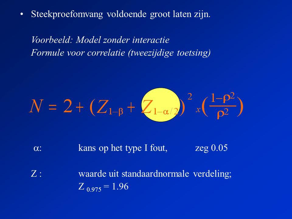  :kans op het type I fout, zeg 0.05 Z :waarde uit standaardnormale verdeling; Z 0.975 = 1.96 •Steekproefomvang voldoende groot laten zijn.