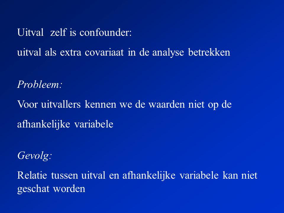 Uitval zelf is confounder: uitval als extra covariaat in de analyse betrekken Gevolg: Relatie tussen uitval en afhankelijke variabele kan niet geschat worden Probleem: Voor uitvallers kennen we de waarden niet op de afhankelijke variabele
