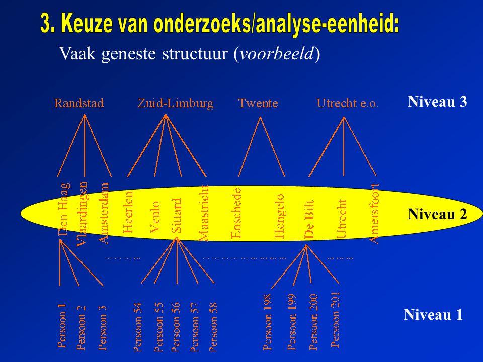 Vaak geneste structuur (voorbeeld) Niveau 3 Niveau 2 Niveau 1