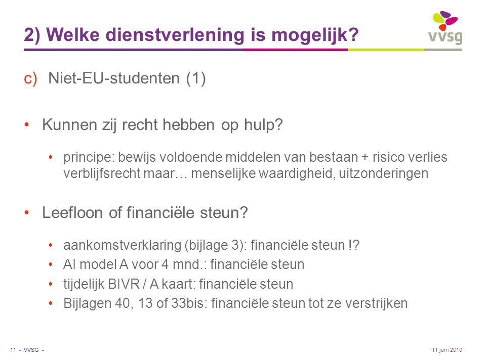 VVSG - 2) Welke dienstverlening is mogelijk? c)Niet-EU-studenten (1) •Kunnen zij recht hebben op hulp? •principe: bewijs voldoende middelen van bestaa