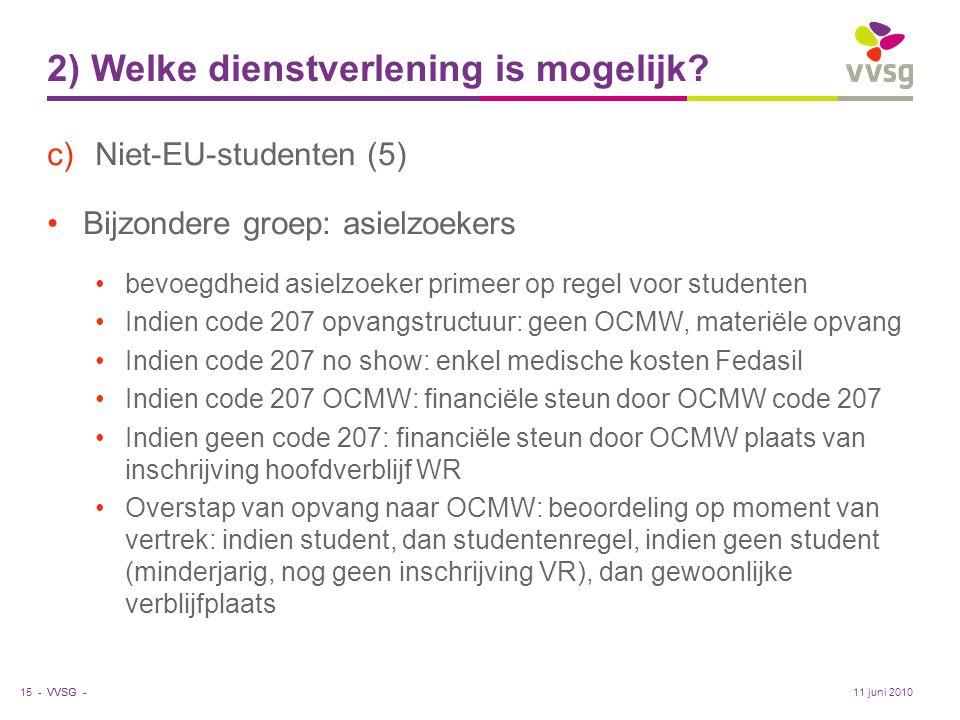 VVSG - 2) Welke dienstverlening is mogelijk? c)Niet-EU-studenten (5) •Bijzondere groep: asielzoekers •bevoegdheid asielzoeker primeer op regel voor st