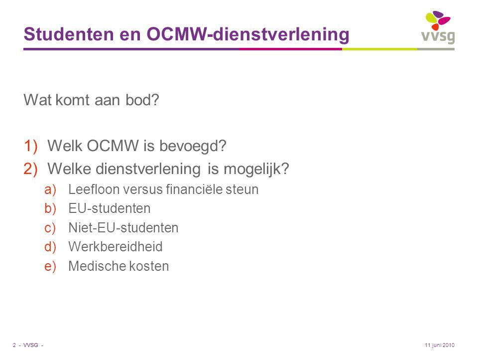 VVSG - Studenten en OCMW-dienstverlening Wat komt aan bod? 1)Welk OCMW is bevoegd? 2)Welke dienstverlening is mogelijk? a)Leefloon versus financiële s