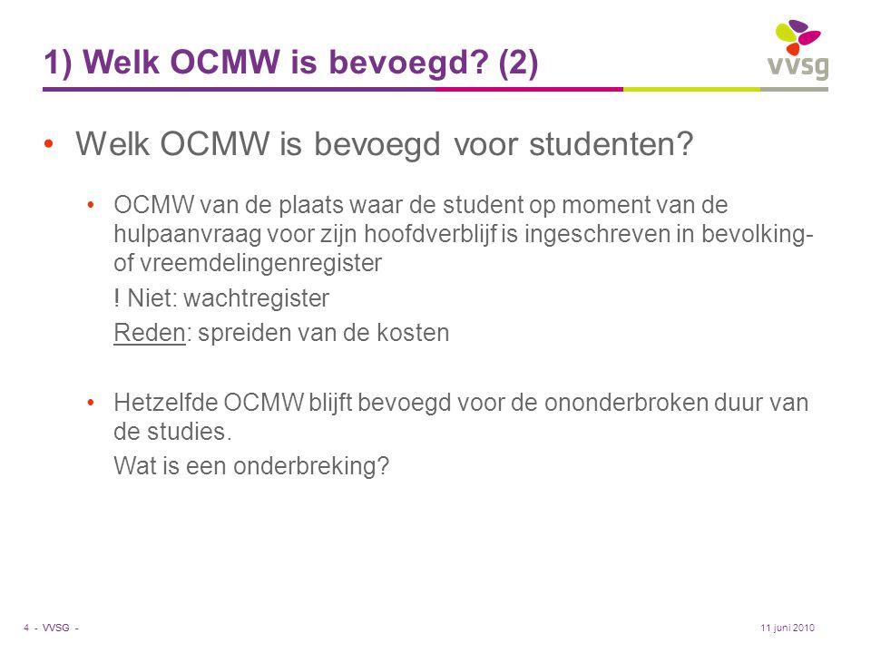 VVSG - 1) Welk OCMW is bevoegd? (2) •Welk OCMW is bevoegd voor studenten? •OCMW van de plaats waar de student op moment van de hulpaanvraag voor zijn