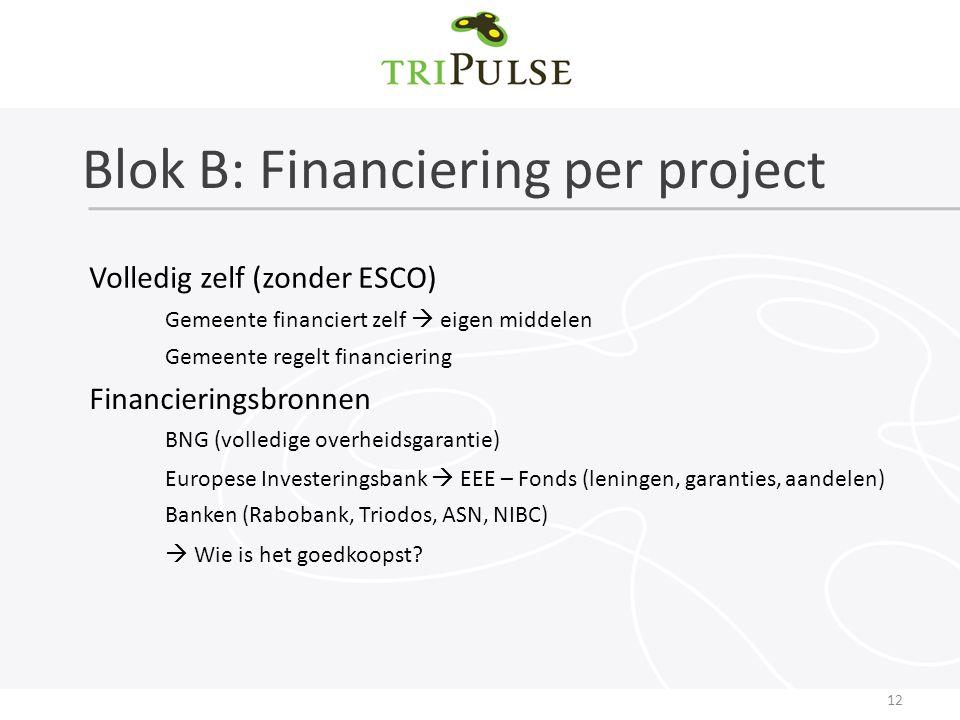 Blok B: Financiering per project 12 Volledig zelf (zonder ESCO) Gemeente financiert zelf  eigen middelen Gemeente regelt financiering Financieringsbronnen BNG (volledige overheidsgarantie) Europese Investeringsbank  EEE – Fonds (leningen, garanties, aandelen) Banken (Rabobank, Triodos, ASN, NIBC)  Wie is het goedkoopst