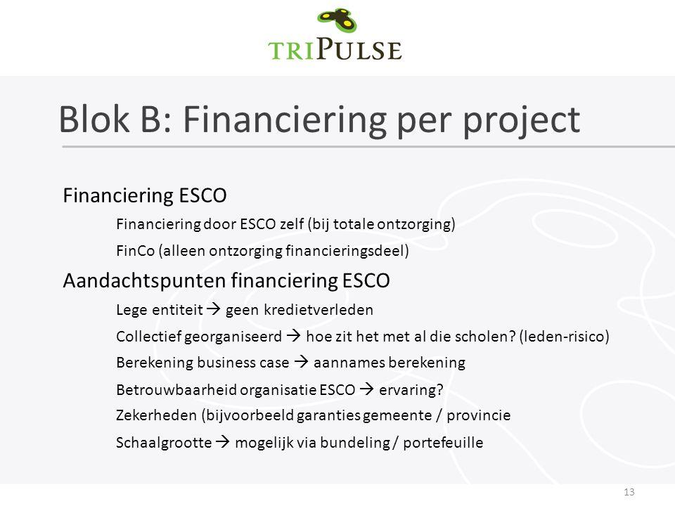 Blok B: Financiering per project 13 Financiering ESCO Financiering door ESCO zelf (bij totale ontzorging) FinCo (alleen ontzorging financieringsdeel) Aandachtspunten financiering ESCO Lege entiteit  geen kredietverleden Collectief georganiseerd  hoe zit het met al die scholen.