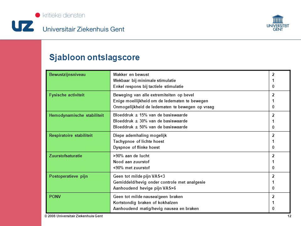 12 © 2008 Universitair Ziekenhuis Gent Sjabloon ontslagscore BewustzijnsniveauWakker en bewust Wekbaar bij minimale stimulatie Enkel respons bij tacti