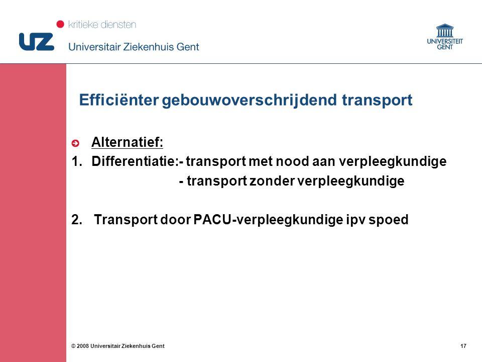 17 © 2008 Universitair Ziekenhuis Gent Efficiënter gebouwoverschrijdend transport Alternatief: 1.Differentiatie:- transport met nood aan verpleegkundi