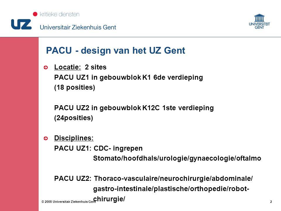 2 2© 2008 Universitair Ziekenhuis Gent PACU - design van het UZ Gent Locatie: 2 sites PACU UZ1 in gebouwblok K1 6de verdieping (18 posities) PACU UZ2