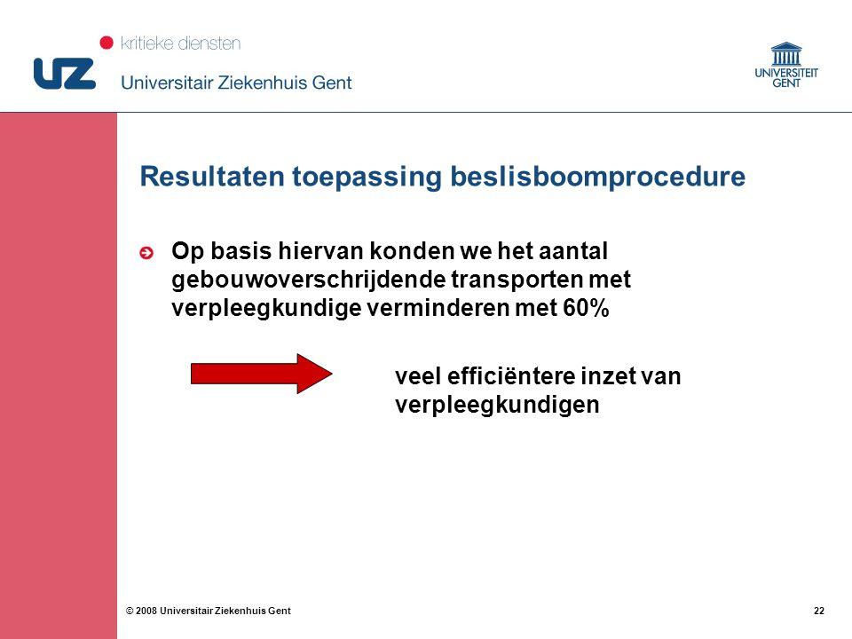 22 © 2008 Universitair Ziekenhuis Gent Resultaten toepassing beslisboomprocedure Op basis hiervan konden we het aantal gebouwoverschrijdende transporten met verpleegkundige verminderen met 60% veel efficiëntere inzet van verpleegkundigen