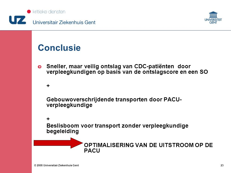 23 © 2008 Universitair Ziekenhuis Gent Conclusie Sneller, maar veilig ontslag van CDC-patiënten door verpleegkundigen op basis van de ontslagscore en een SO + Gebouwoverschrijdende transporten door PACU- verpleegkundige + Beslisboom voor transport zonder verpleegkundige begeleiding OPTIMALISERING VAN DE UITSTROOM OP DE PACU