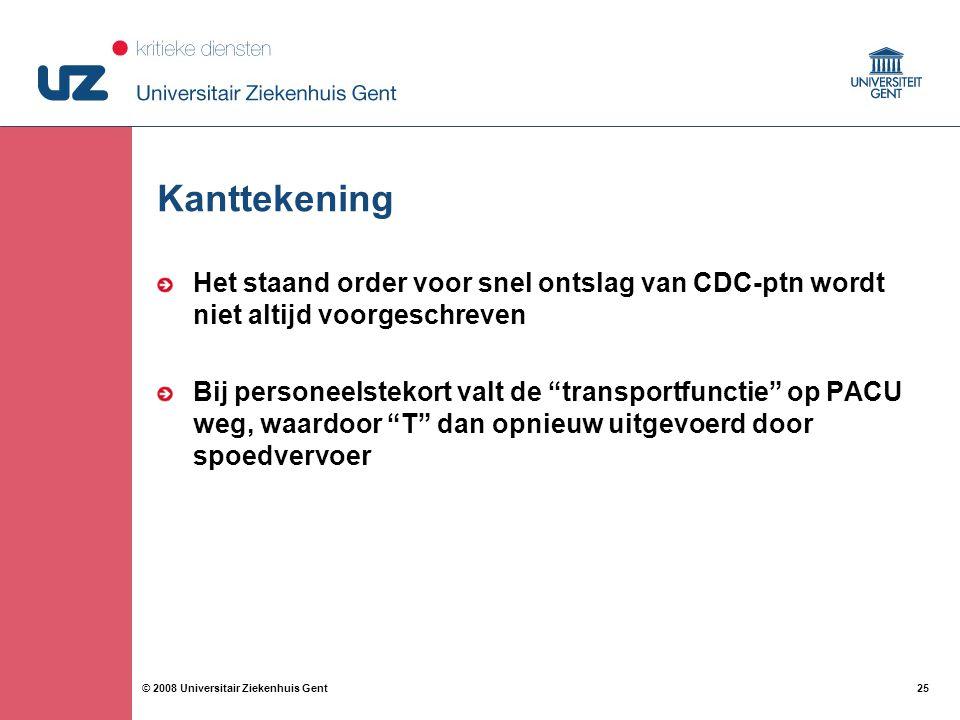 25 © 2008 Universitair Ziekenhuis Gent Kanttekening Het staand order voor snel ontslag van CDC-ptn wordt niet altijd voorgeschreven Bij personeelstekort valt de transportfunctie op PACU weg, waardoor T dan opnieuw uitgevoerd door spoedvervoer