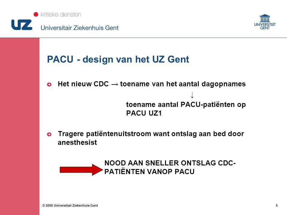6 6© 2008 Universitair Ziekenhuis Gent PACU-design in het UZ Gent Gebouwoverschrijdend patiëntentransport PACU UZ 1 => PACU UZ 2 PACU UZ 1 => Hospitalisatie UZ 2 PACU UZ 2 => Hospitalisatie UZ 1 Uitgevoerd door transportequipe van spoedopname HEEL LANGE WACHTTIJDEN VOOR GEBOUWOVERSCHRIJDENDE PATIËNTENTRANSPORT