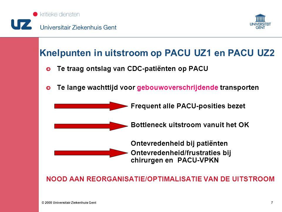 7 7© 2008 Universitair Ziekenhuis Gent Knelpunten in uitstroom op PACU UZ1 en PACU UZ2 Te traag ontslag van CDC-patiënten op PACU Te lange wachttijd v