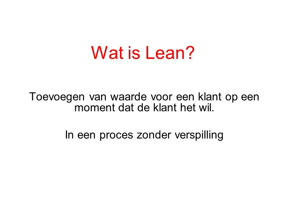 Wat is Lean? Toevoegen van waarde voor een klant op een moment dat de klant het wil. In een proces zonder verspilling