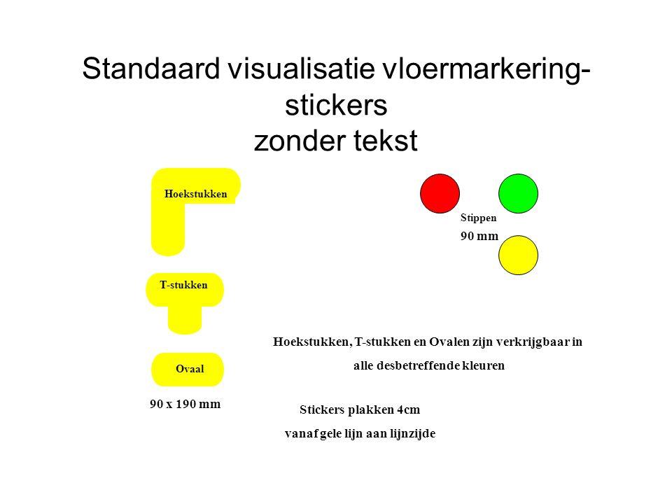 Standaard visualisatie vloermarkering- stickers zonder tekst Hoekstukken T-stukken Ovaal Stippen Hoekstukken, T-stukken en Ovalen zijn verkrijgbaar in