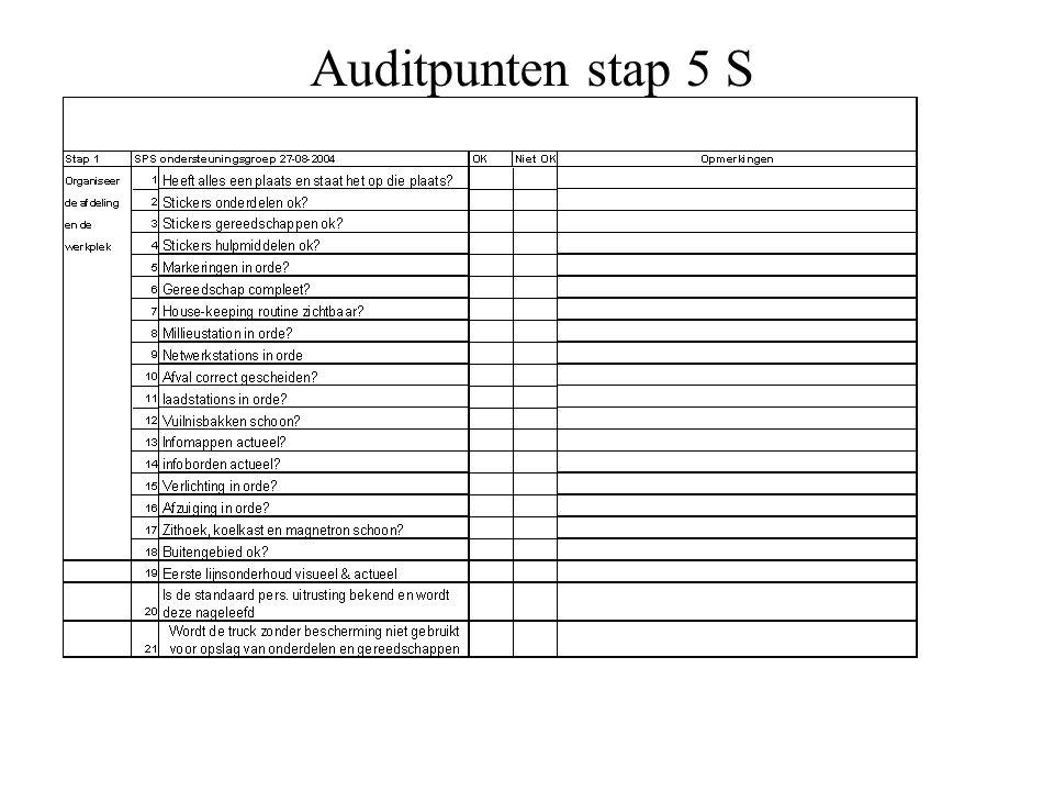 Auditpunten stap 5 S