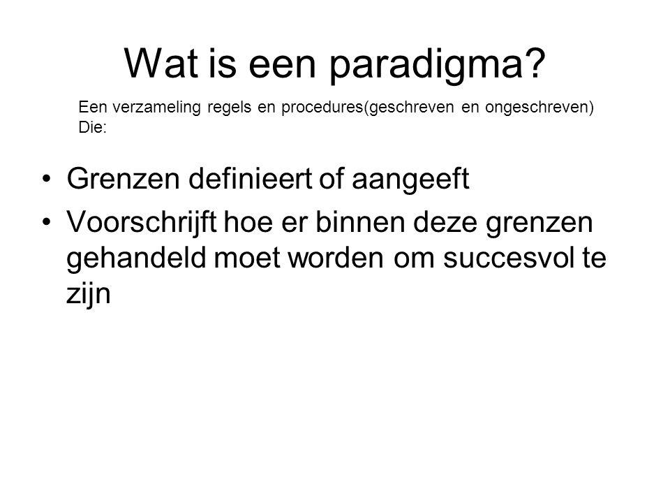 Wat is een paradigma? •Grenzen definieert of aangeeft •Voorschrijft hoe er binnen deze grenzen gehandeld moet worden om succesvol te zijn Een verzamel