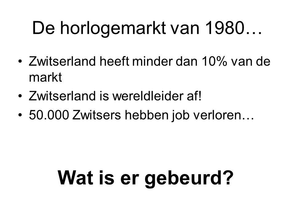 De horlogemarkt van 1980… •Zwitserland heeft minder dan 10% van de markt •Zwitserland is wereldleider af! •50.000 Zwitsers hebben job verloren… Wat is