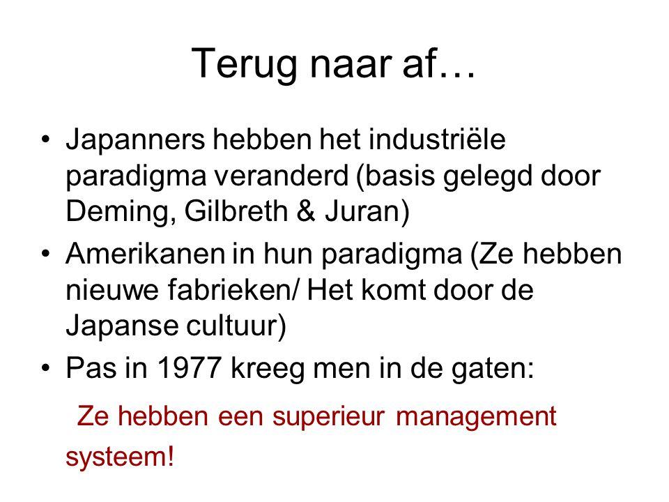 Terug naar af… •Japanners hebben het industriële paradigma veranderd (basis gelegd door Deming, Gilbreth & Juran) •Amerikanen in hun paradigma (Ze heb
