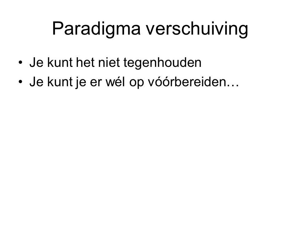 Paradigma verschuiving •Je kunt het niet tegenhouden •Je kunt je er wél op vóórbereiden…