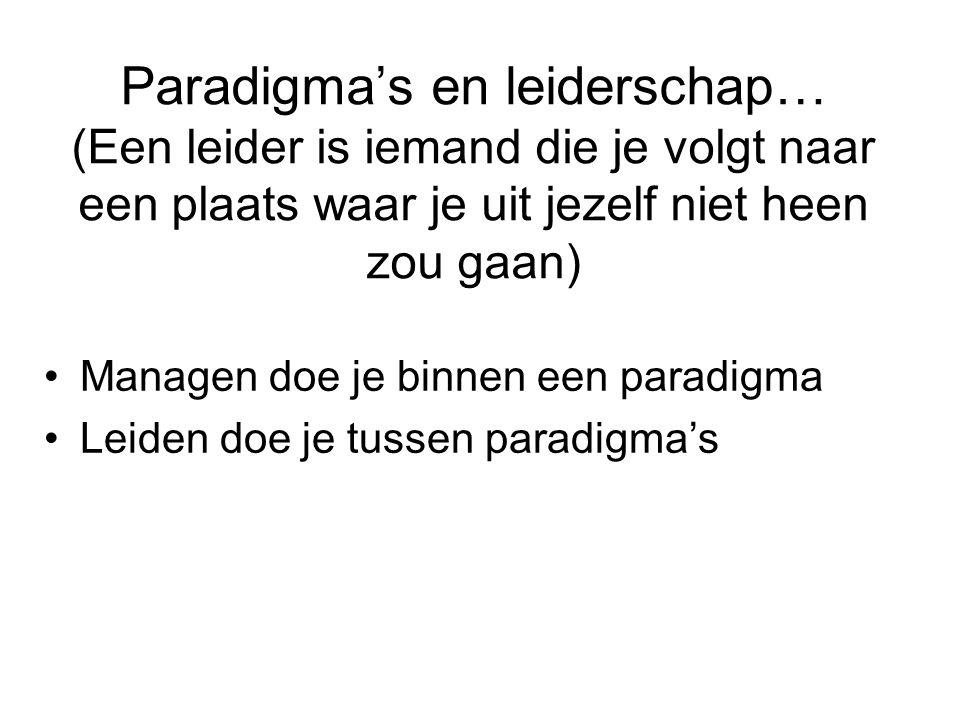 Paradigma's en leiderschap… (Een leider is iemand die je volgt naar een plaats waar je uit jezelf niet heen zou gaan) •Managen doe je binnen een parad