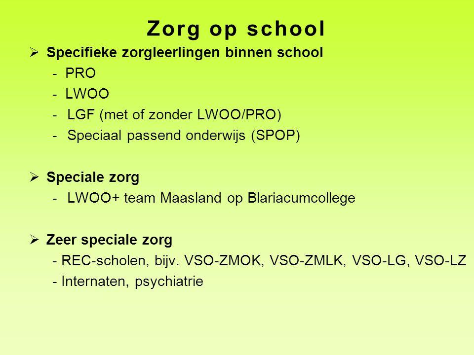 Zorg op school  Specifieke zorgleerlingen binnen school - PRO - LWOO -LGF (met of zonder LWOO/PRO) -Speciaal passend onderwijs (SPOP)  Speciale zorg