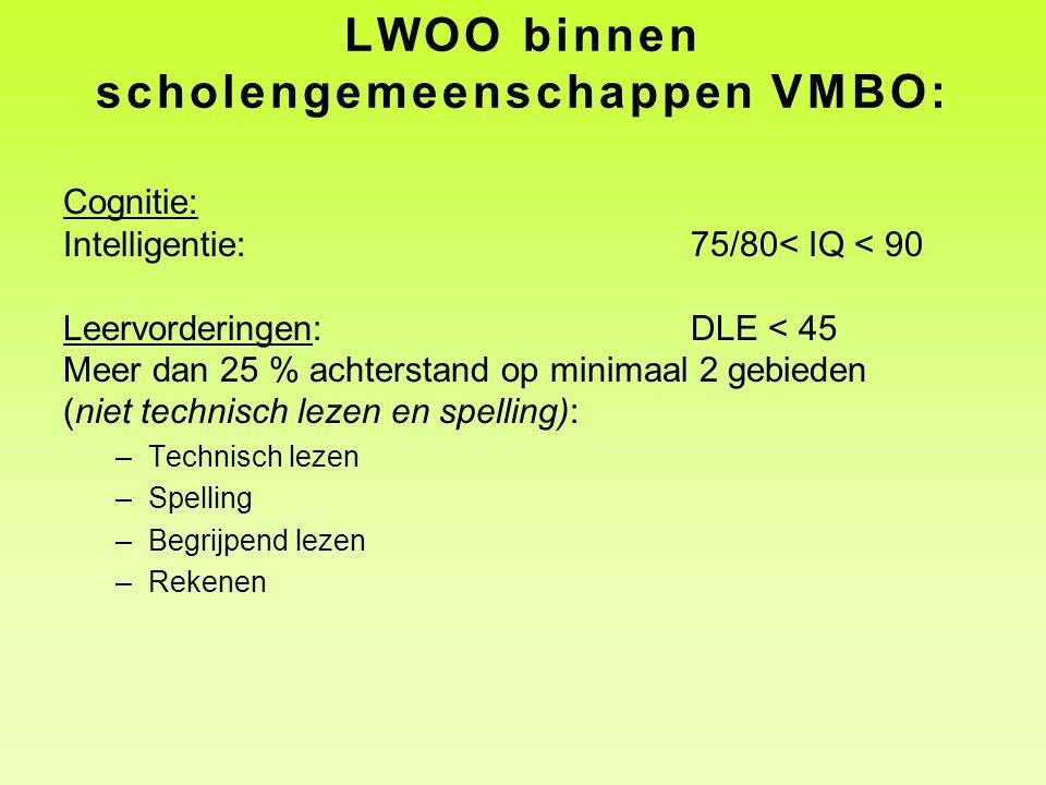 LWOO binnen scholengemeenschappen VMBO: Cognitie: Intelligentie:75/80< IQ < 90 Leervorderingen: DLE < 45 Meer dan 25 % achterstand op minimaal 2 gebie