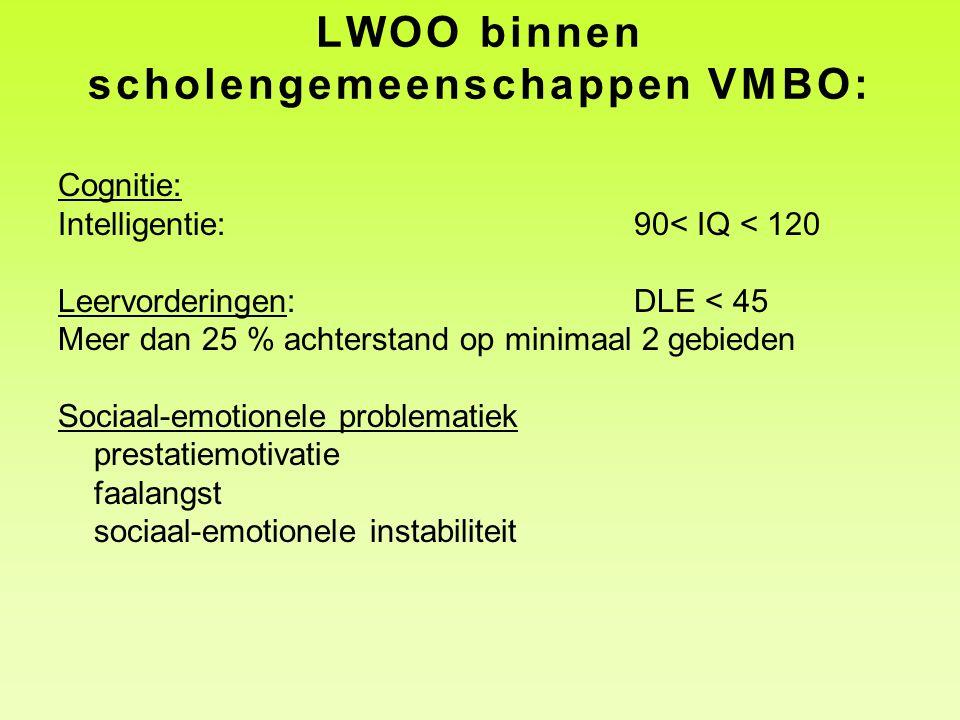 LWOO binnen scholengemeenschappen VMBO: Cognitie: Intelligentie:90< IQ < 120 Leervorderingen: DLE < 45 Meer dan 25 % achterstand op minimaal 2 gebiede