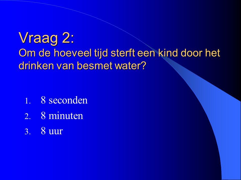 Vraag 2: Om de hoeveel tijd sterft een kind door het drinken van besmet water? 1. 8 seconden 2. 8 minuten 3. 8 uur