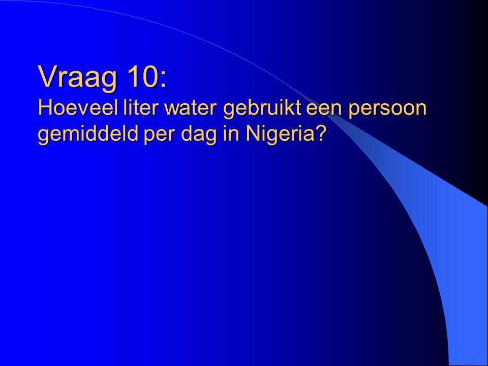 Vraag 10: Hoeveel liter water gebruikt een persoon gemiddeld per dag in Nigeria?