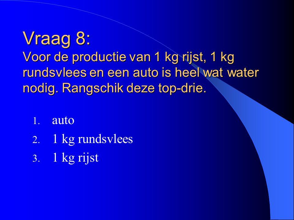 Vraag 8: Voor de productie van 1 kg rijst, 1 kg rundsvlees en een auto is heel wat water nodig. Rangschik deze top-drie. 1. auto 2. 1 kg rundsvlees 3.