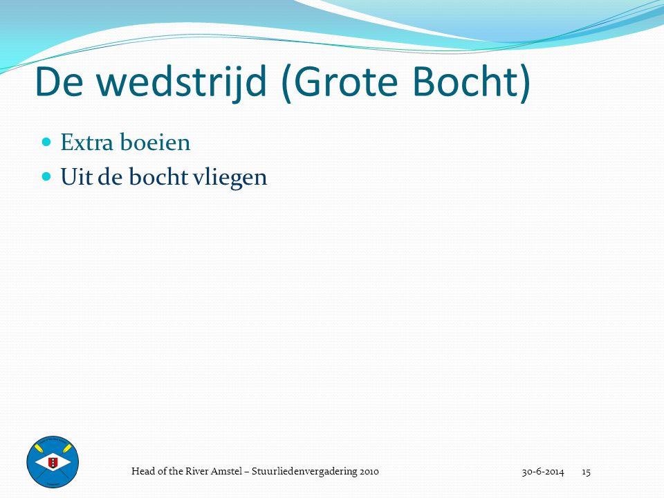 De wedstrijd (Grote Bocht) 30-6-2014 15  Extra boeien  Uit de bocht vliegen Head of the River Amstel – Stuurliedenvergadering 2010