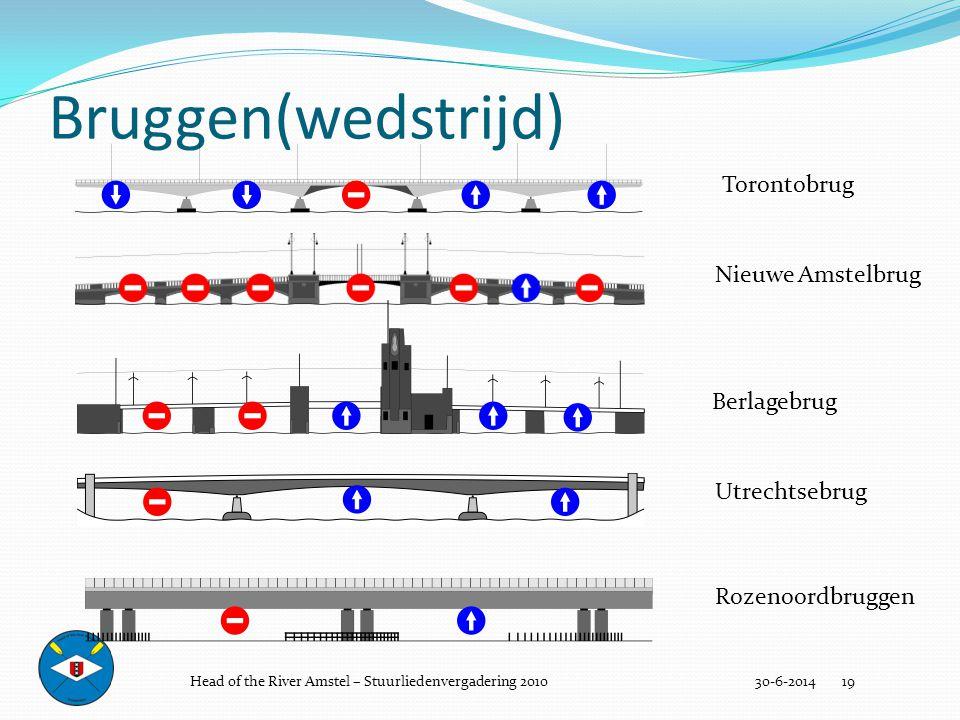 Bruggen(wedstrijd) 30-6-2014 19 Utrechtsebrug Torontobrug Berlagebrug Nieuwe Amstelbrug Rozenoordbruggen Head of the River Amstel – Stuurliedenvergade