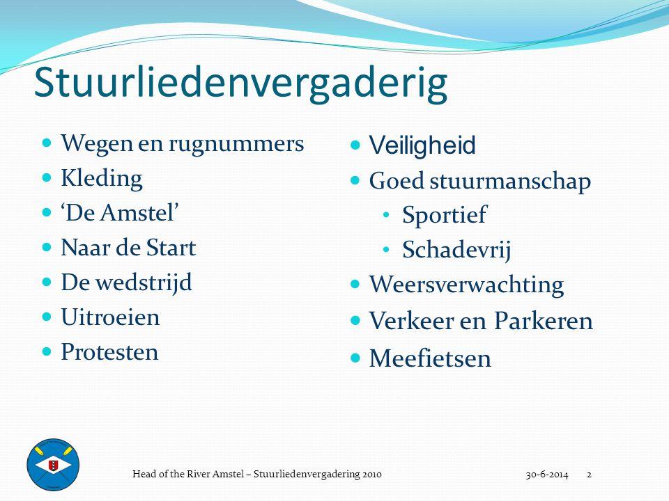 Stuurliedenvergaderig  Wegen en rugnummers  Kleding  'De Amstel'  Naar de Start  De wedstrijd  Uitroeien  Protesten 30-6-2014 2  Veiligheid 