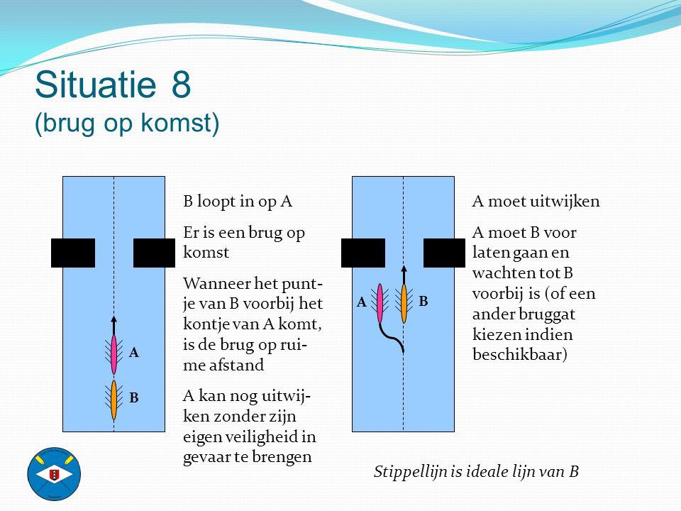 Situatie 8 (brug op komst) B loopt in op A Er is een brug op komst Wanneer het punt- je van B voorbij het kontje van A komt, is de brug op rui- me afs